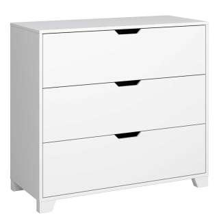 Schlafzimmerkommode in Weiß lackiert drei Schubladen