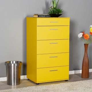 Dielenkommode Gelb in modernem Design fünf Schubladen