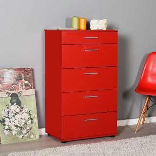 Rote Flurkommode mit fünf Schubladen modernem Design
