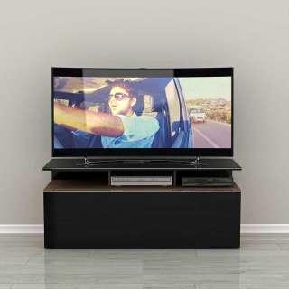 TV Unterschrank in Schwarz und Nussbaum Optik einer Schublade