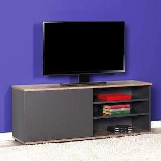 Fernsehlowboard in Anthrazit und Holzoptik offene Gerätefächer