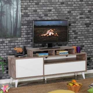 Fernseh Unterschrank in Hellbraun Holzoptik und Weiß Push to open Funktion