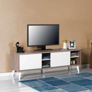 Fernsehunterschrank in Hellbraun Holzoptik und Weiß Schiebetüren