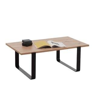 Wohnzimmer Tisch in Eichefarben melaminbeschichtet Bügelgestell
