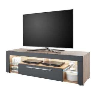 Fernsehmöbel in Grau und Asteiche Optik LED Beleuchtung