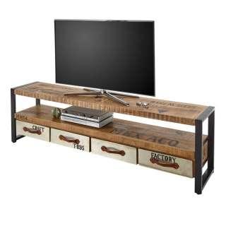Fernsehlowboard im Industry und Loft Stil Mangobaum Massivholz und Stahl