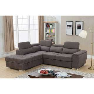 Eck Wohnzimmer Couch in Dunkelbraun Microfaser verstellbarer Rückenhöhe