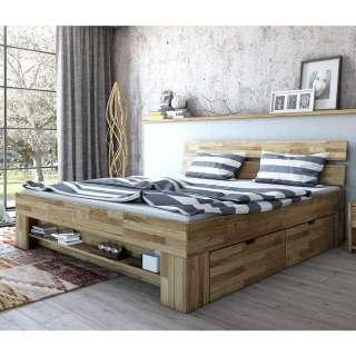 Schubkastenbett aus Wildeiche Massivholz 47 cm Einstiegshöhe