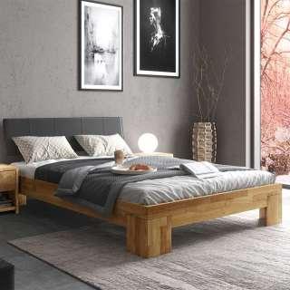 Doppelbett in Schwarz und Eiche 37 cm Einstiegshöhe