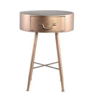 Design Beistelltisch in Messingfarben runde Form