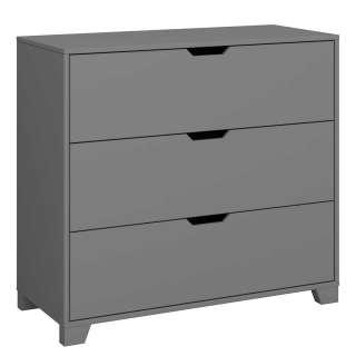 Schlafzimmerkommode aus MDF grau lackiert drei Schubladen