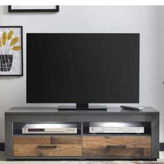 TV Lowboard in Dunkelgrau und Holz Antikfarben zwei Schubladen