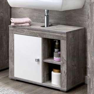 Waschtisch Unterschrank in Beton Grau und Weiß 1 türig