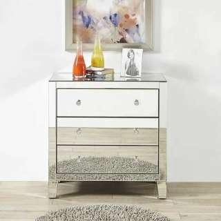 Kommode in Silberfarben verglast drei Schubladen
