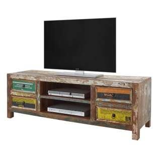 Buntes TV Lowboard aus Recyclingholz vier Schubladen