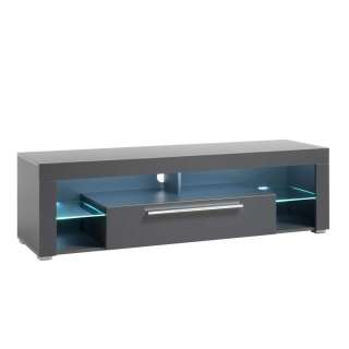 TV Board in Grau Klappe und Gerätefach