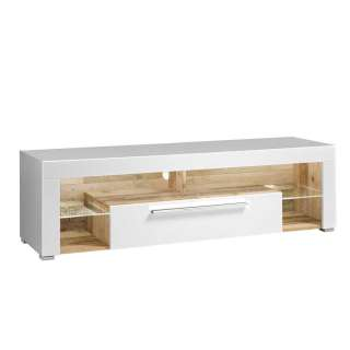 TV Lowboard in Weiß und Holz Antik LED Beleuchtung