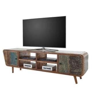 TV Board aus Recyclingholz Bunt lackiert