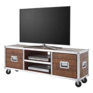 TV Lowboard aus Akazie Massivholz und Metall rollbar