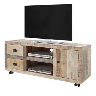 TV Board aus Mangobaum Massivholz Metallrollen