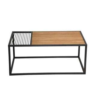 Sofa Tisch aus Eiche Massivholz geölt Bügelgestell aus Metall