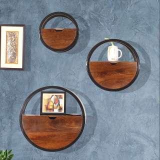 Runde Wandregale aus Mangobaum Massivholz Metall (dreiteilig)