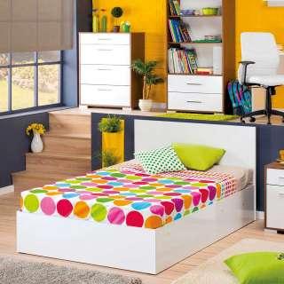 Jugendbett in Weiß Hochglanz Stauraumfunktion