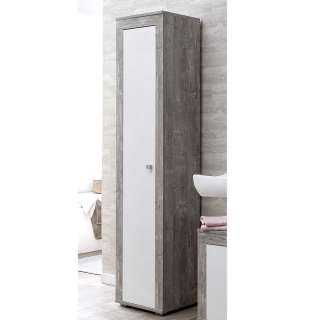 Badhochschrank in Beton Grau und Weiß Drehtür