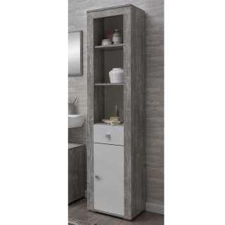 Badezimmerhochschrank in Beton Grau und Weiß Regalfach
