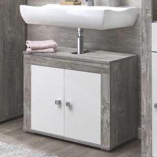 Kleiner Waschbeckenschrank in Beton Grau und Weiß 2 türig
