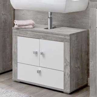 Badezimmerunterschrank in Beton Grau und Weiß 2 Türen 1 Klappe