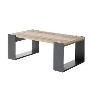 Salontisch in Holz verwittert und Anthrazit Bügelgestell