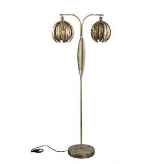 Metall Stehlampe in Altgoldfarben Blättermuster