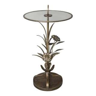 Design Säulentisch in Altgoldfarben runder Glas Tischplatte