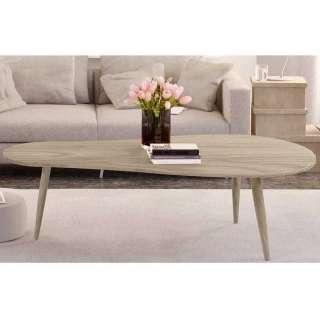 Wohnzimmer Tisch in Eiche White Wash Tischplatte in Nierenform