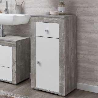Badezimmerunterschrank in Beton Grau und Weiß 1 Tür 1 Schublade