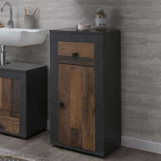 Badezimmer Unterschrank in Dunkelgrau Holz Antik Optik