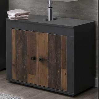 Badezimmerschrank mit Siphon Ausschnitt Dunkelgrau und Holz Antik Optik