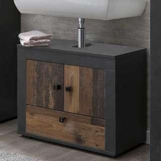 Waschtischunterschrank in Holz Antik Optik Dunkelgrau