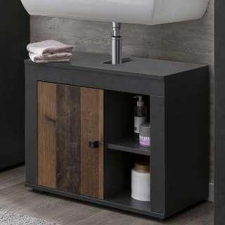 Kleiner Waschbeckenunterschrank in Holz Antik Optik Dunkelgrau