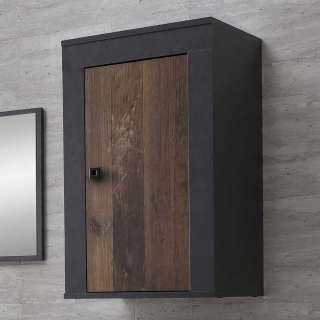 Badezimmer Hängeschrank in Holz Antik Optik Dunkelgrau