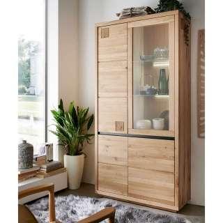 XL Wohnzimmervitrine aus Wildeiche Massivholz Hirnholzeinlagen