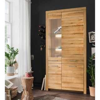 XL Wohnzimmervitrine aus Wildeiche Massivholz Glastür links