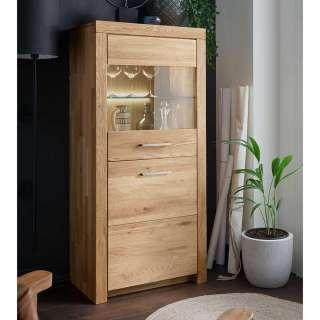 Vitrinenschrank aus Wildeiche Massivholz 1 Glastür 1 Holztür