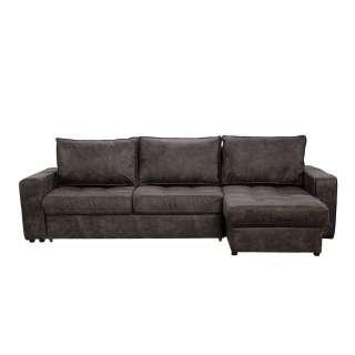 Couch Funktionsecke in Dunkelgrau Microfaser Bettkasten