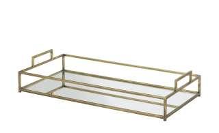 Tablett mit Spiegelboden ¦ gold ¦ Metall, Glas Küchenzubehör & Helfer > Tabletts & Etageren - Höffner