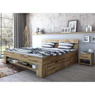 Schubkastenbett mit Konsolen aus Wildeiche Massivholz geölt (dreiteilig)