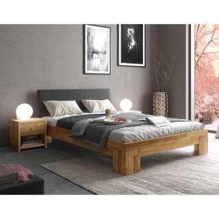 Doppelbett mit Konsolen in Eiche und Schwarz Massivholz (dreiteilig)