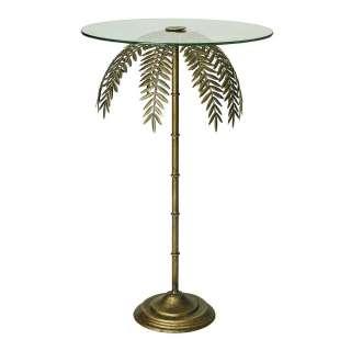 Glas Tisch in Goldfarben Säulengestell mit Palmblättern