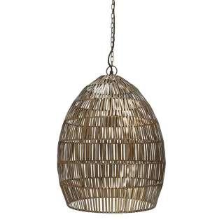 Metall Pendelleuchte in Messingfarben ovaler Lampenschirm